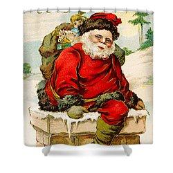 A Joyful Christmas Shower Curtain by Vintage Christmas Card