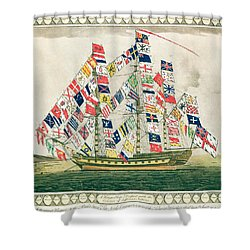 A King S Ship Dressed With The Colours Of Different Nations 6th October 1794 Shower Curtain by English School