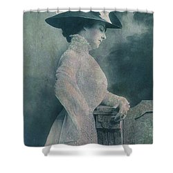 A Lady Ponders Shower Curtain by Sarah Vernon