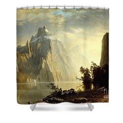 A Lake In The Sierra Nevada Shower Curtain by Albert Bierstadt