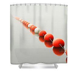 A Line To The Unknown Shower Curtain by Karol Livote