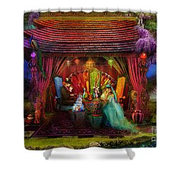 A Mad Tea Party Shower Curtain by Aimee Stewart