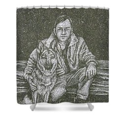 A Man And His Dog Shower Curtain by Dennis Pintoski