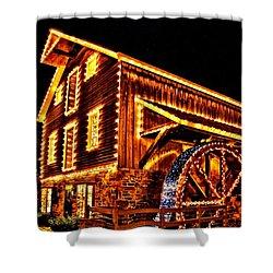 A Mill In Lights Shower Curtain by DJ Florek