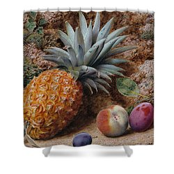 A Pineapple A Peach And Plums On A Mossy Bank Shower Curtain by John Sherrin