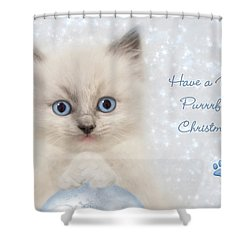 A Purrrfect Christmas Shower Curtain by Lori Deiter