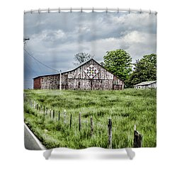 A Quilted Barn Shower Curtain by Heather Applegate