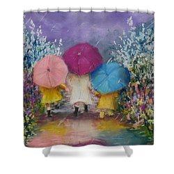 A Rainy Day Stroll With Mom Shower Curtain by Jack Skinner