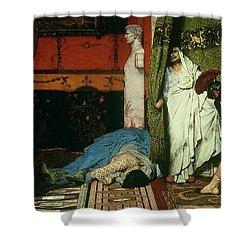 A Roman Emperor   Claudius Shower Curtain by Sir Lawrence Alma Tadema