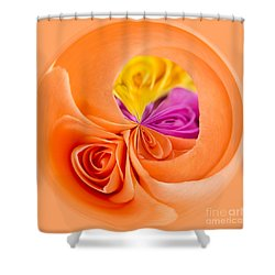 A Round Of Roses Shower Curtain by Anne Gilbert