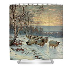 A Shepherd With His Flock In A Winter Landscape Shower Curtain by Wright Baker