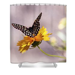 A Sip Of Coreopsis Shower Curtain by Caitlyn  Grasso