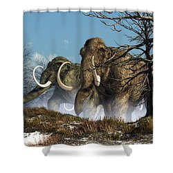 A Storm Of Mammoths  Shower Curtain by Daniel Eskridge