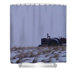 A Tractor Fading To The Snow  Shower Curtain by Jeff Swan