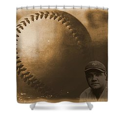 A Tribute To Babe Ruth And Baseball Shower Curtain by Dan Sproul