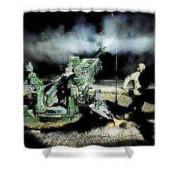 A United States Gun Crew Fire Illumination Rounds At Forward Operating Base Hadrian Shower Curtain by Paul Fearn