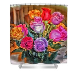 A Vivid Rose Bouquet For You Shower Curtain by Thomas Woolworth