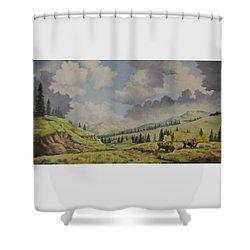 A Warm Day At Yellowstone Nat. Park Shower Curtain by Wanda Dansereau