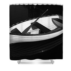 A White Rowboat Shower Curtain by Xueling Zou