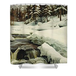 A Winter Landscape With A Mountain Torrent Shower Curtain by Peder Monsted