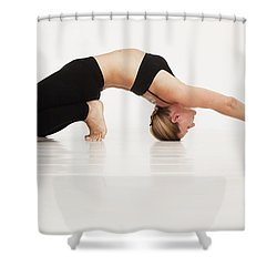 A Woman In A Yoga Pose Tarifa, Cadiz Shower Curtain by Marcos Welsh