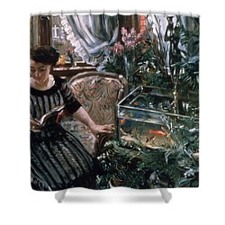 A Woman Reading Near A Goldfish Tank Shower Curtain by Lovis Corinth