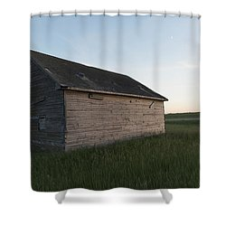 A Wooden Shed In The Middle Of A Grass Shower Curtain by Keith Levit