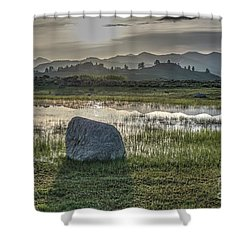 Shower Curtain featuring the photograph A Yellowstone Sunrise And Hazy Morning Ridges by Bill Gabbert