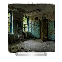 Abandoned Places - Asylum - Old Windows - Waiting Room Shower Curtain by Gary Heller