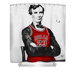 Abe Lincoln In A Bulls Jersey Shower Curtain by Roly Orihuela