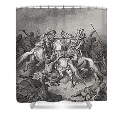 Abishai Saves The Life Of David Shower Curtain by Gustave Dore
