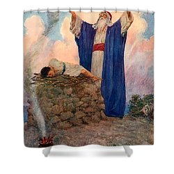 Abraham And Isaac On Mount Moriah Shower Curtain by William Henry Margetson