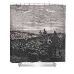 Abraham Journeying Into The Land Of Canaan Shower Curtain by Gustave Dore