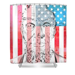 Abraham Lincoln Vintage American Flag Shower Curtain by Dan Sproul