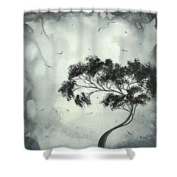 Abstract Art Original Black And White Surreal Landscape Painting Lost Moon By Madart Shower Curtain by Megan Duncanson