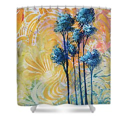 Abstract Art Original Landscape Painting Contemporary Design Blue Trees II By Madart Shower Curtain by Megan Duncanson