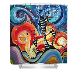 Abstract Art Whimsical Cityscape Funky Houses Homeland By Madart Shower Curtain by Megan Duncanson