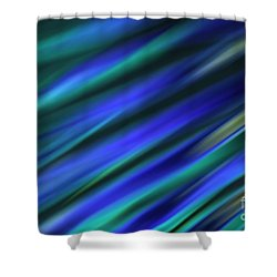 Abstract Blue Green Diagonal Blur Shower Curtain by Marvin Spates