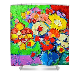 Abstract Colorful Flowers Shower Curtain by Ana Maria Edulescu