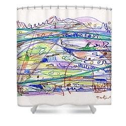 Abstract Drawing Eleven Shower Curtain by Lynne Taetzsch