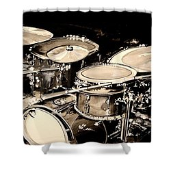 Abstract Drum Set Shower Curtain by J Vincent Scarpace