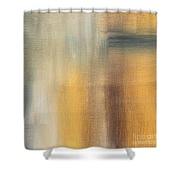 Abstract Golden Yellow Gray Contemporary Trendy Painting Fluid Gold Abstract II By Madart Studios Shower Curtain by Megan Duncanson