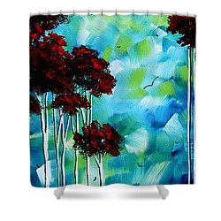Abstract Landscape Art Original Tree And Moon Painting Blue Moon By Madart Shower Curtain by Megan Duncanson