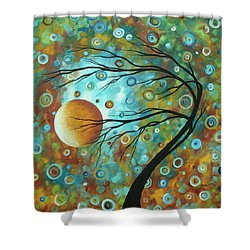 Abstract Landscape Circles Art Colorful Oversized Original Painting Pin Wheels In The Sky By Madart Shower Curtain by Megan Duncanson