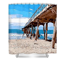 Abstract Ocean Pier Shower Curtain by Phil Perkins