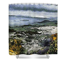 Abstract Seascape Morro Bay California Shower Curtain by Barbara Snyder