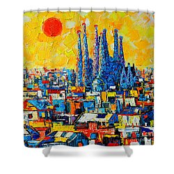 Abstract Sunset Over Sagrada Familia In Barcelona Shower Curtain by Ana Maria Edulescu