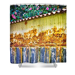Abstract Weathered Metal Cabin Detail Shower Curtain by Silvia Ganora