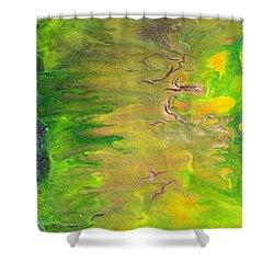 Acid Green Abstract Shower Curtain by Julia Apostolova