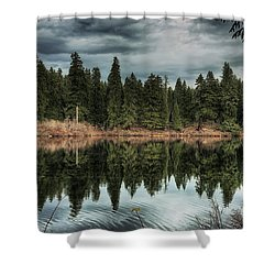 Across The Lake Shower Curtain by Belinda Greb